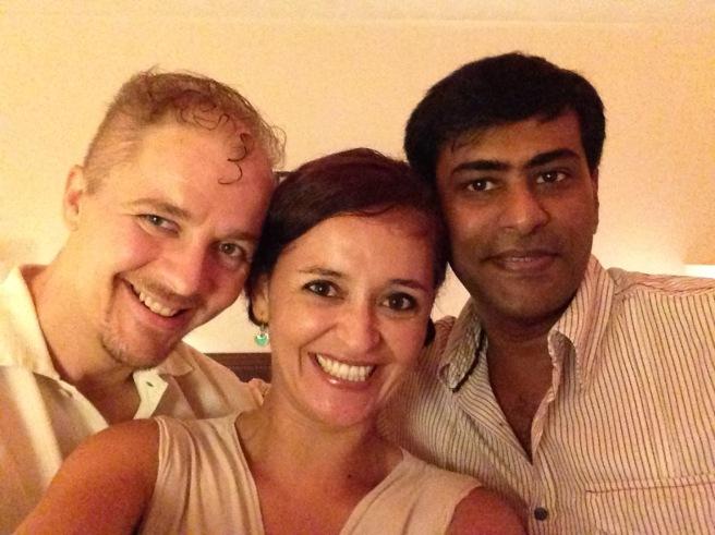 Alton, Mónica, and Ajit at Mango Hill Resort, Pondicherry