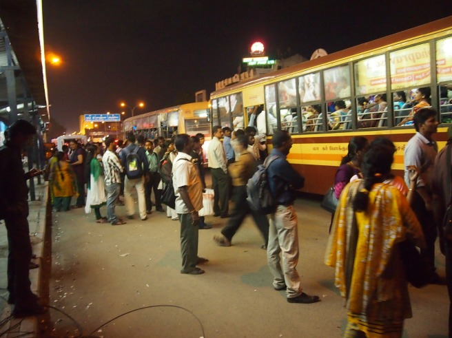 Crowded Bus Stop in Chennai, India