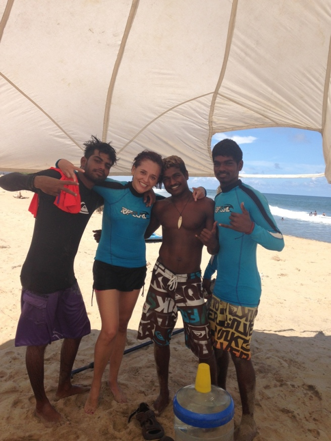 Surf instructors at Covelong Point