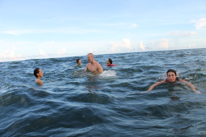 Swimming in Indian Ocean, Mahabalipuram