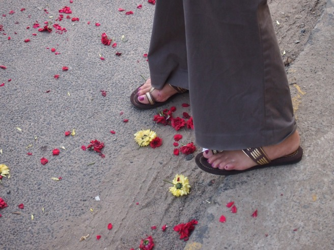 Flower petals on the street, Chennai, India