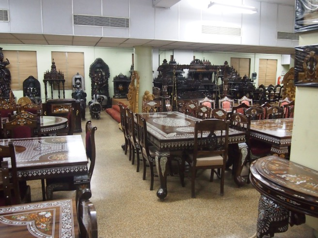 Handmade rosewood furniture in the Victoria Technical Institute, Chennai, India